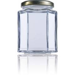 Hexagonal glass jar 390ml HONEY PACKAGING