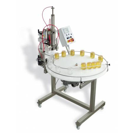 Pneumatic honey filling machine + turn table Honey filling machines