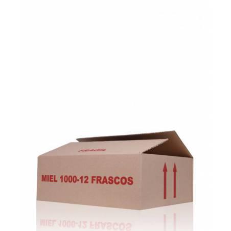 Caja de cartón 12 frascos miel 1/2 kg ENVASES