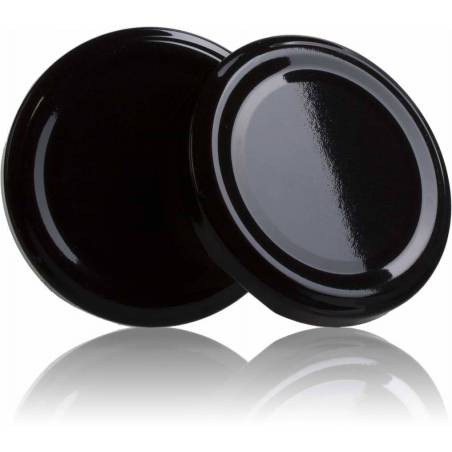Couvercle TO 77mm noir pasteurisable Couvercles