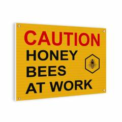 Cartel Caution bees (inglés) Carteles Apicultura