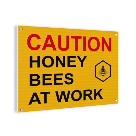 Caution bees sign Bee signs