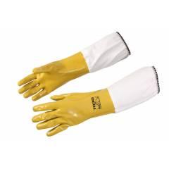 Yellow nitrile gloves