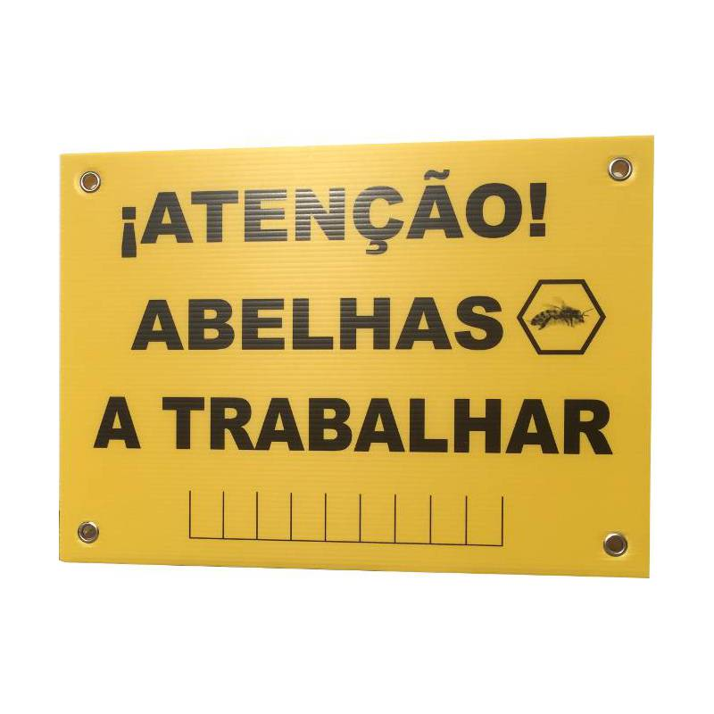 Panneau rucher « Attention abeilles » en portugais AU RUCHER